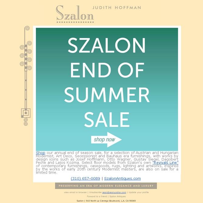 Select Szalon Antiques and Revivals Line Pieces on Sale