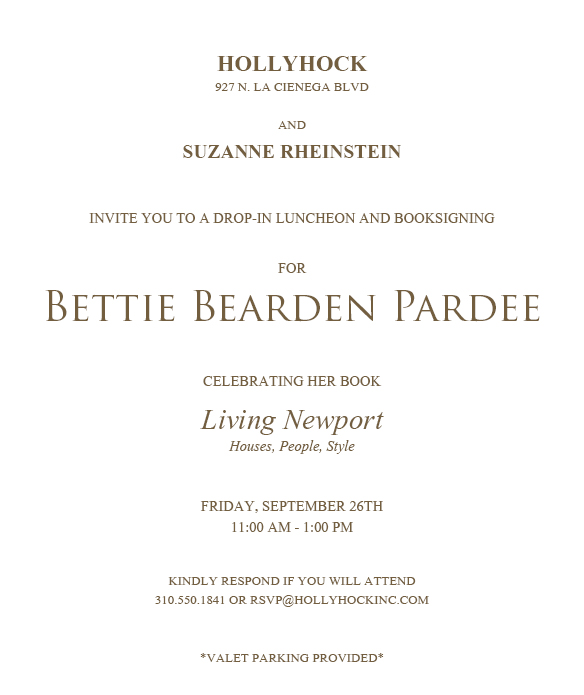 Bettie Bearden Pardee INVITE text