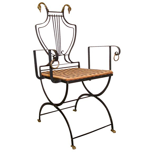Downtown Iron and Brass Lyre Back Chair