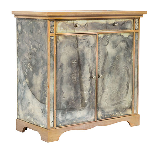Dragonette Chic Antique Mirrored Two-Door Cabinet