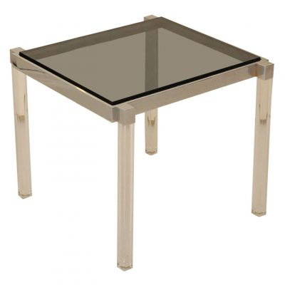 Dragonette Lucite and Chrome Side Table with Smoked Glass Top