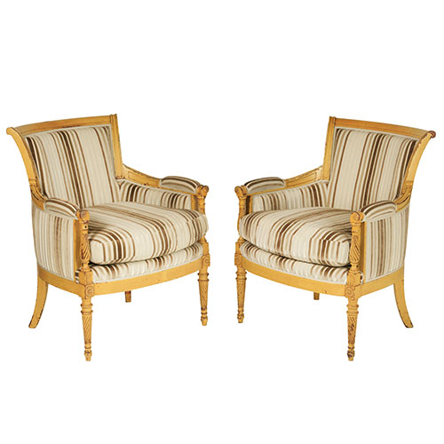 Dragonette Pair of Bergere Chairs in the Directoire Style