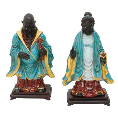 Dragonette Pair of Chinese Ancestral Figures by Professor Eugenio Pattarino