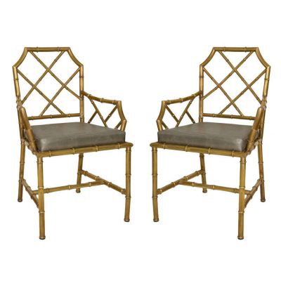 Dragonette Pair of Italian Brass Bamboo Chairs