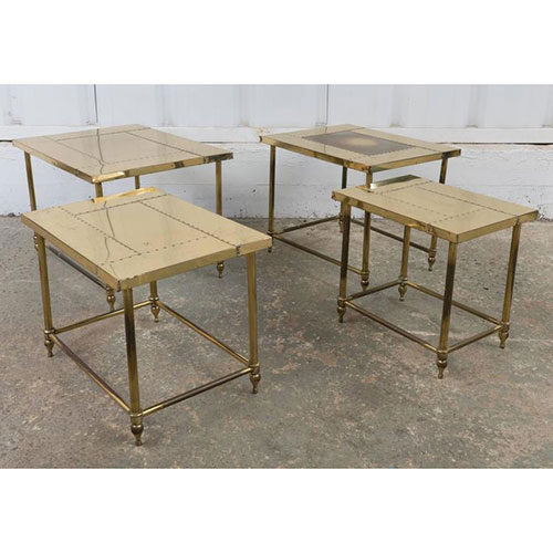 Hollywood at Home Pair of Brass Nesting Tables